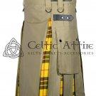 34 - Size - Hybrid UTILITY KILTS for Men Khaki Cotton Macleod of Lewis Tartan Cargo Pockets Kilt