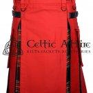 36 - Size - Hybrid UTILITY KILTS for Men Red Cotton Black Stewart Tartan Cargo Pockets Kilt
