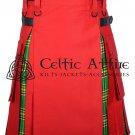 38 - Size - Hybrid UTILITY KILTS for Men Red Cotton IRISH Tartan Cargo Pockets Kilt
