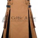 48 - Size - Hybrid UTILITY KILTS for Men Camel Canvas Black Canvas Cargo Pockets Kilt