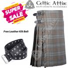40 - Size - Scottish Highlander 8 Yard Black Watch Weathered Tartan Custom Kilt & Leather Kilt Belt