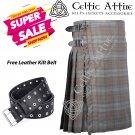 50 - Size - Scottish Highlander 8 Yard Black Watch Weathered Tartan Custom Kilt & Leather Kilt Belt