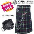 48 - Size - Scottish Highlander 8 Yard MacKenzie Tartan Custom Kilt & Leather Kilt Belt