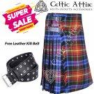 44 - Size - Scottish Highlander 8 Yard - LGBTQ Pride Tartan Custom Kilt & Leather Kilt Belt