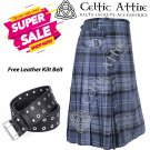 30 - Size - Scottish Highlander 8 Yard Hamilton Grey Tartan Custom Kilt & Leather Kilt Belt