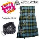 48 - Size - Scottish Highlander 8 Yard Gunn Ancient Tartan Custom Kilt & Leather Kilt Belt