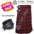 38 - Size - Scottish Highlander 8 Yard Macdonald Tartan Custom Kilt & Leather Kilt Belt