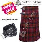 44 - Size - Scottish Highlander 8 Yard Macdonald Tartan Custom Kilt & Leather Kilt Belt
