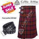 50 - Size - Scottish Highlander 8 Yard Macdonald Tartan Custom Kilt & Leather Kilt Belt