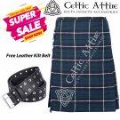 32 - Size - Scottish Highlander 8 Yard Blue Douglas Tartan Custom Kilt & Leather Kilt Belt