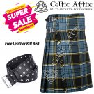 32 - Size - Scottish Highlander 8 Yard Anderson Tartan Custom Kilt & Leather Kilt Belt