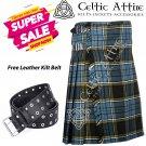 40 - Size - Scottish Highlander 8 Yard Anderson Tartan Custom Kilt & Leather Kilt Belt