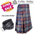 42 - Size - Scottish Highlander 8 Yard IRN BRU Tartan Custom Kilt & Leather Kilt Belt