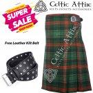 50 - Size - Scottish Highlander 8 Yard Ross Hunting Modern Tartan Custom Kilt & Leather Kilt Belt