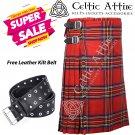 30 - Size - Scottish Highlander 8 Yard Royal Stewart Tartan Custom Kilt & Leather Kilt Belt
