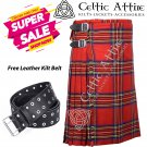 42 - Size - Scottish Highlander 8 Yard Royal Stewart Tartan Custom Kilt & Leather Kilt Belt
