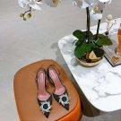 Amina Muaddi Begum Embellished Satin Slingback Pumps Black High Heel Shoes