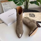 Isabel Marant Boots Paris Runway Lamsy Leather Boots Old West Pointed Steel Toe Heel Ornament Boots