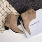 Isabel Marant Dewina Ankle Boots Suede Cuban Heel Woman Shoes Pull-on Pull-tabs Booties