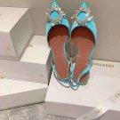 Fashion Woman Shoes Amina Muaddi Begum Sandals Begum 40 Crystal Buckle Satin Slingback Pumps