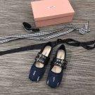 Woman Shoes Miumiu Denim Ballerinas Flats Belts Belted Miu Miu Ballerina Shoes