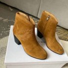 Woman Shoes Isabel Marant Boots Embroidered Ankle Boots 4.5cm Heel Brown Suede Boots