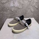 Man Shoes Amiri Sneakers Bandana Chain Embellished Leather-trimmed Suede Slip-on Gray Sneakers