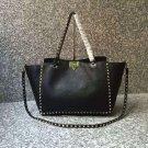 Women Bag Rockstuds Handbag Medium Rockstud Bag Black Leather Tote