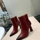 Women Shoes Jacquemus Boots Cone Heel Ankle Boots Genuine Leather 9CM Heel