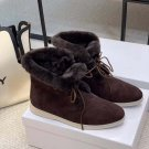 Women Shoes Loro Piana Boots Suede Fur Open Walk Ankle Boots