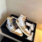 Men's Shoes Amiri Sneakers Skel Top Tan White Painted Leather Bones Applique Trainers