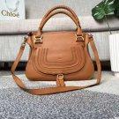 Designer Marcie Handbag Classic Medium Marcie Bag Brown Genuine Leather Handbag Grain Calfskin