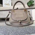 Designer Marcie Handbag Classic Medium Marcie Bag Gray Genuine Leather Handbag Grain Calfskin