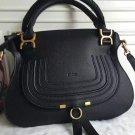 Designer Marcie Handbag Classic Medium Marcie Bag Genuine Leather Tote Black Grain Calfskin