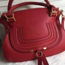 Designer Marcie Handbag Classic Medium Marcie Bag Genuine Leather Tote Red Grain Calfskin