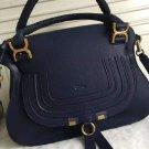 Designer Marcie Handbag Classic Medium Marcie Bag Genuine Leather Tote Blue Grain Calfskin