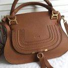 Designer Marcie Handbag Brown Classic Medium Marcie Bag Genuine Leather Tote Grain Calfskin