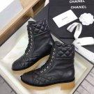 Women's Shoes Paris Cc Boots Black Suede Lace-up Martin Boots 5.5cm Heel