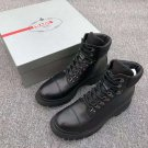 Men's Shoes Lace-up Hiking Boots Black Calf Leather Ridged Rubber Sole Hiking Boots Luxury