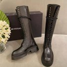 Women's Shoes Ann Demeulemeester Boots Black Genuine Real Original Leather Lace-up Zipper Boots