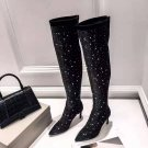 Women's Shoes Jimmy London Choo Boots Bling Bling Crystal Diamonds 7.5cm Heel Knee High Boots