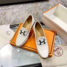 Women's Shoes Paris Loafers H Palladium Plated White Genuine Leather Loafers 5cm Heel Pumps