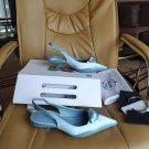 Women's Shoes Nylon Gabardine Slingback Pumps Italy Triangle Logo Sandals Comma Heel
