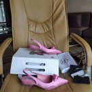 Women's Shoes Nylon Gabardine Slingback Pumps Italy Triangle Logo Sandals Comma Heel Fashion