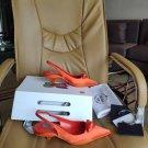 Women's Shoes Nylon Gabardine Slingback Pumps Italy Triangle Logo Sandals Comma Heel Gabardine