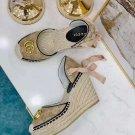 Women's Shoes Gg Sandals Espadrilles Wedges Platform Quilted Canvas Sandal Italy Double