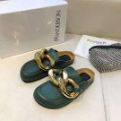 Women's Shoes J.W. Anderson Jw Gold Chain Loafers Green Leather Mules Slides