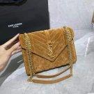 Women's Bag Saint Paris Laurent Medium Envelope Suede Shoulder Bag Chain Ysl Handbag Tan Brown