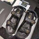 Women's Shoes Black 21c Caviar Gold Cc Logo Mule Slide Strap Flat Teva Dad Sandals Paris Coco