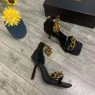 Women's Shoes Medusa Chain Gold Original Black Leather Sandals High-heel Ankle Sandals